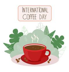 beautiful cartoon coffee green leaves vector image