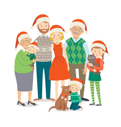 big happy family in christmas hats with pets vector image