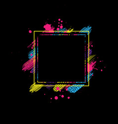Black and color square tire frame vector