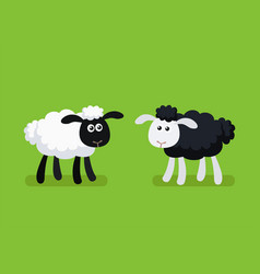 black and white sheep standing on green background vector image