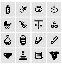 Black baby icon set vector