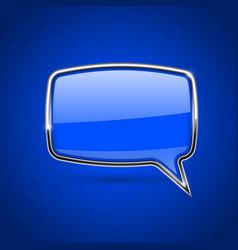 Blue speech bubble with chrome frame on blue vector