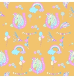 Blue unicorns in pink horseshoe on a yellow vector image