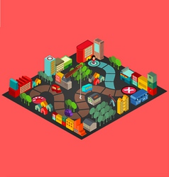 Board game with city building vector image