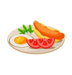 Breakfast Food Set with a Hotdog Fried Egg and vector