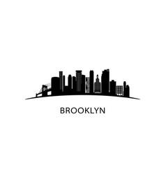 brooklyn ny city skyline black cityscape isolated vector image