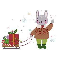 Bunny with sleds carrying gifts in a christmas vector