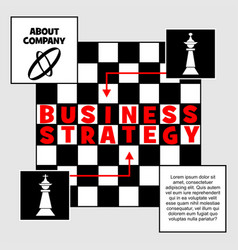 business strategy banner chess metaphor with king vector image