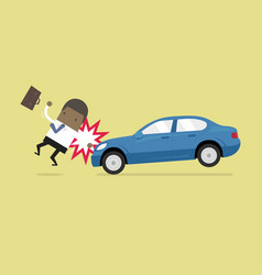 Businessman about to be hit a car vector