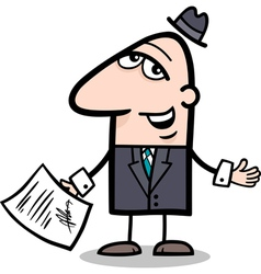 businessman with contract cartoon vector image