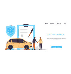 Car insurance landing page risks protection vector