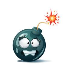 Cartoon bomb fuse wick spark icon scared vector