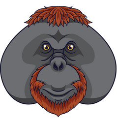 cartoon orangutan head mascot vector image