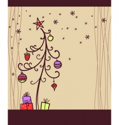Christmas background with tree vector image