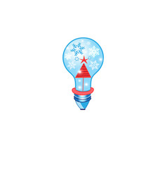 christmas card with a light bulb vector image