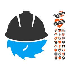 circular blade safety icon with valentine bonus vector image