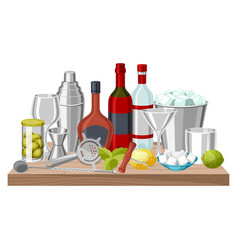 cocktail bar background essential tools vector image