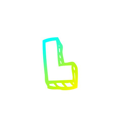 Cold gradient line drawing cartoon letter l vector
