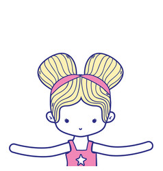 Colorful girl dancing ballet with two buns hair vector