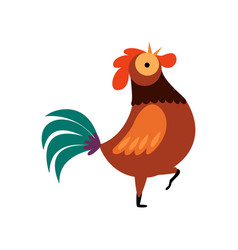 colorful rooster standing on one leg and crowing vector image