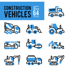 construction vehicle and transport monocolor vector image