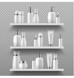 cosmetic bottles on shelf realistic beauty vector image