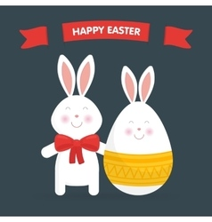 Cute Easter bunny and egg vector image