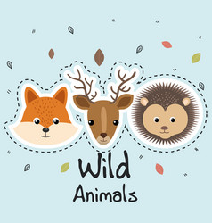 Cute wild animals sticker leaves fall vector