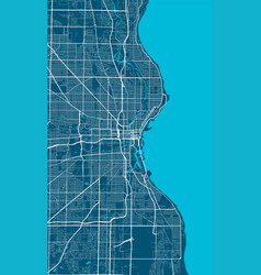 Detailed map milwaukee city linear print map vector