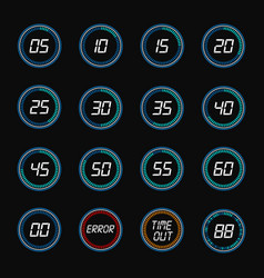 Digital countdown timer clock design icons vector