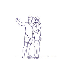 doodle couple taking selfie photo on smart phone vector image