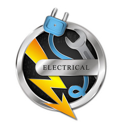electricity symbol wrench and lightning vector image
