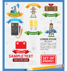 Energetics logos with ribbon energetics vector