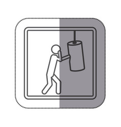 Figure person practicing boxing icon vector