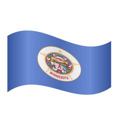 flag of minnesota waving on white background vector image