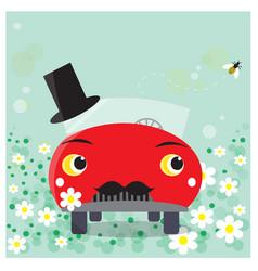 Funny car cartoon moustached groom vector