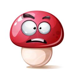 funny cute crazy cartoon mushroom vector image