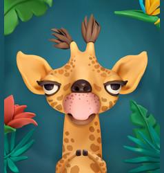 Giraffe cartoon character cute animals 3d art vector