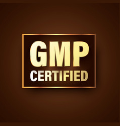 Gmp certified luxury themed badge for premium vector