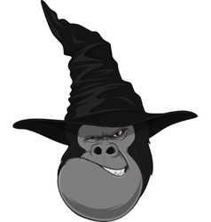 Gorilla head with hat vector image