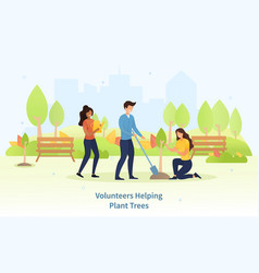 group diverse young friends planting trees vector image