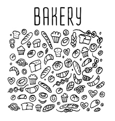 Hand drawn bakery seamless logo background vector image