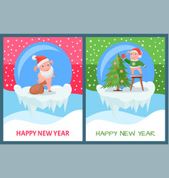 happy new year pig decorating christmas tree vector image