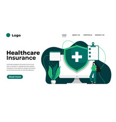 Health insurance concept landing page people vector