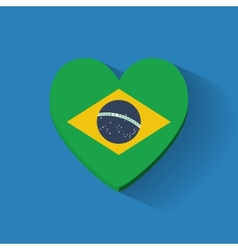 Heart-shaped icon with flag of brazil vector