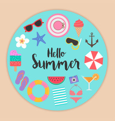 Hello summer background with elements vector