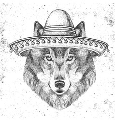 Hipster animal wolf wearing a sombrero hat vector