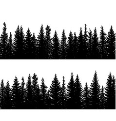 Horizontal banner silhouettes spruce vector
