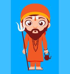 indian religion hindu swami priest vector image