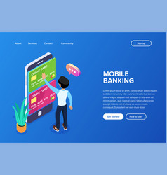 isometric mobile banking concept vector image